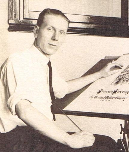 Earl J Neff as a young artist in the 1920s
