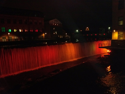 Lighted waterfalls in the centre of Norrköping on New Year 2015